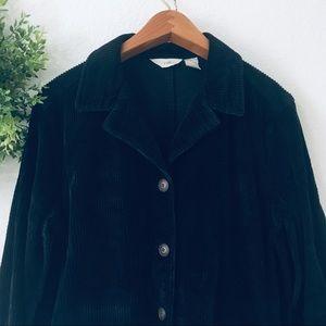 J. Jill Jackets & Coats - J Jill Vintage Corduroy Black Button Up Jacket